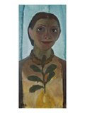 Self-Portrait with Camellia Twig, 1907 Gicléetryck av Paula Modersohn-Becker