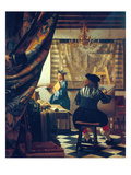The Art of Painting (The Artist's Studio). About Um 1666/68 ジクレープリント : ヨハネス・フェルメール