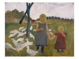 Kinder Mit Gaensen Gicléetryck av Paula Modersohn-Becker