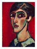 Elongated Head of a Woman in Brown-Red, 1913 Giclee-trykk av Alexej Von Jawlensky