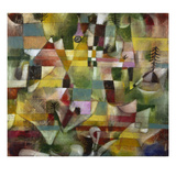 Landscape with Yellow Steeple, 1920 Premium Giclee-trykk av Paul Klee