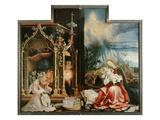 Isenheimer Altar. Inner Center Panel: Angel Concert and Nativitiy Lámina giclée por Matthias Grünewald