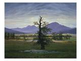Der Einsame Baum (Dorflandschaft Bei Morgenbeleuchtung) (See also Image Number 1433, 1823 Giclée-tryk af Caspar David Friedrich