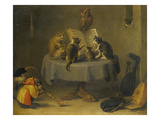 Cat and Monkey Concert Giclée-Druck von David Teniers the Younger