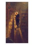 De boekenworm, ca. 1850 Gicléedruk van Carl Spitzweg