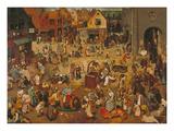 Der Kampf Zwischen Fasching Und Fasten, 1559 Gicléetryck av Pieter Bruegel the Elder