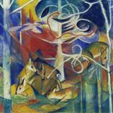 Deer in the Forest I, 1913 Giclée-tryk af Franz Marc