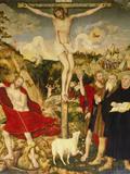 Altar Der Peter- Und Paulkirche in Weimar. Mitteltafel: Christus Am Kreuz Giclée-tryk af Lucas Cranach the Elder