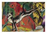 Three Cats, 1913 Giclée-Druck von Franz Marc