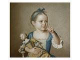 Girl with Doll Giclée-tryk af Jean-Etienne Liotard