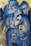 Tower of the Blue Horses, 1913 (Postcard to Else Lasker-Schueler) Reproduction procédé giclée par Franz Marc