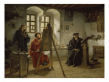 Cranach Painting Luther in the Wartburg Castle, about 1890 Giclée-tryk af Heinrich Stelzner