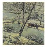 Winter at Montfoucault with Snow, 1875 Reproduction procédé giclée par Camille Pissarro