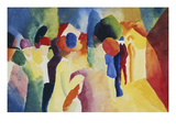 With a Yellow Jacket, 1913 Giclée-tryk af Auguste Macke