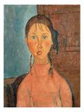 Girl with Pigtails, 1918 Reproduction procédé giclée par Amedeo Modigliani