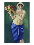 Woman Holding a Jardiniere, 1910 Giclee Print by Auguste Macke