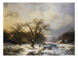 Winterlandschaft Mit Eislaeufern Und Reisigsammlern, 1849 Giclee-trykk av Barend Cornelis Koekkoek
