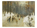 Ice Skaters on a Frozen Lake in the Berlin Zoo, 1919 Giclee-trykk av Max Liebermann