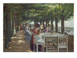 The Terrace at the Restaurant Jacob in Nienstedten on the Elbe River, 1902 Giclée-tryk af Max Liebermann