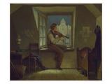 The Violinist at the Window, about 1860 Giclée-Druck von Moritz Von Schwind