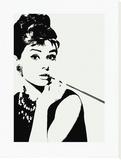 Audrey Hepburn, met cigarillo Kunst op gespannen canvas