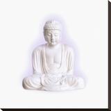 White Buddha Stretched Canvas Print