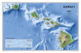 National Geographic - Hawaii Map Laminated Poster Plakater av Geographic, National