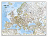 National Geographic - Europe Classic Map, Enlarged & Laminated Poster Plakater af Geographic, National