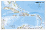 National Geographic - Caribbean Classic Map Laminated Poster Posters af Geographic, National