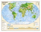 National Geographic - Kids Physical World Education Map (Grades 4-12) Giant Poster Poster af Geographic, National