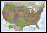 National Geographic - United States Decorator Map, Enlarged & Laminated Poster Julisteet tekijänä Geographic, National