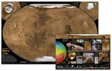 National Geographic - Mars Map , The Red Planet Map , Two-Sided Laminated Poster Fotografia por National Geographic