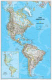 National Geographic - The Americas Classic Map Laminated Poster Láminas por Geographic, National