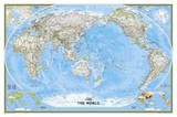 National Geographic - World Classic, Pacific Centered Map, Enlarged & Laminated Poster Poster di Geographic, National