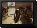 Die Parkettschleifer Leinwandtransfer mit Rahmung von Gustave Caillebotte