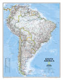National Geographic - South America Classic Map, Enlarged & Laminated Poster Prints by National Geographic