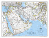 National Geographic - Middle East Map Laminated Poster Bilder av Geographic, National