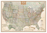 National Geographic - United States Executive Map, Enlarged & Laminated Poster アートポスター : ナショナルジオグラフィック