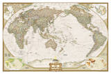 National Geographic - World Executive, Pacific Centered Map, Enlarged & Laminated Poster Kunstdrucke von  National Geographic Maps