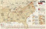 National Geographic - Battles of the Civil War Map Laminated Poster Plakat av Geographic, National