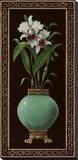 Ginger Jar With Orchids II Bedruckte aufgespannte Leinwand von Janet Kruskamp