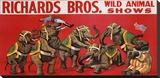 Richards Bros. Wild Animal Shows, ca. 1925 Reproducción de lámina sobre lienzo