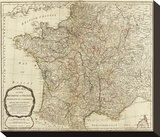 New Map of the Kingdom of France, c.1790 Stretched Canvas Print by Thomas Kitchin