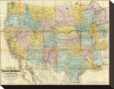 National Map of the Territory of the United States, c.1868 Stretched Canvas Print by William J. Keeler