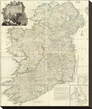 Composite: Ireland, c.1790 Stretched Canvas Print by John Rocque