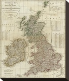 A Complete Map of the British Isles, c.1788 Stretched Canvas Print by Thomas Kitchin