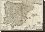 New Map of the Kingdoms of Spain and Portugal, c.1790 Stretched Canvas Print by Thomas Kitchin