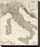 New Map of Italy with the Islands of Sicily, Sardinia and Corsica, c.1790 Stretched Canvas Print by Thomas Kitchin