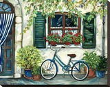 Country Cottage with Blue Bicycle Stretched Canvas Print by Suzanne Etienne