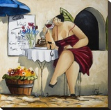 Wine Tasting at Café da Vinci II Stretched Canvas Print by Ronald West